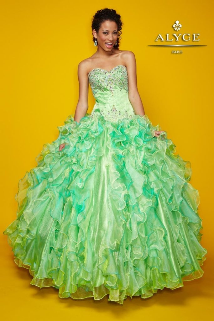 a mint  pink and gold quinceanera