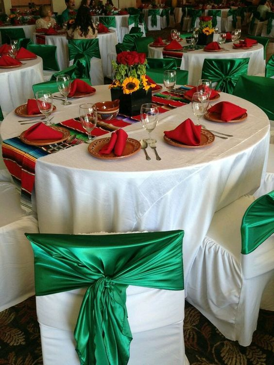 This is an example of using red, green and white as the primary decorating colors